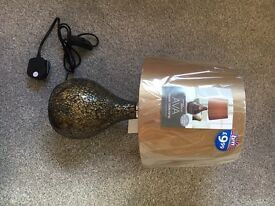 Brown and gold cracked glass lamp -brand new