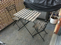 Rustic reclaimed wood / iron patio set for 2