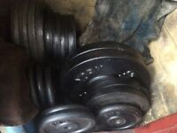 230kg standard cast iron weights plus bars