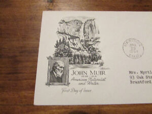 1964 John Muir American Naturalist 5 Cent First Day Cover Kitchener / Waterloo Kitchener Area image 2