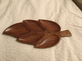 Wooden Leaf Snack/ Novelty Plate/ Serving Tray