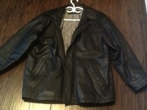 Men's black leather coat