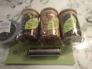 Four O Clock Tea Leaves. Set   4 Different  Tea Leaves With Infu