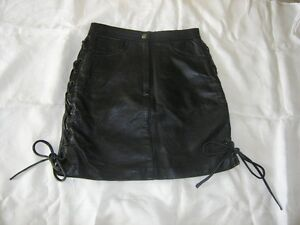 """""""EASY RIDER"""" BLACK LEATHER LACED MOTORCYCLE  SKIRT"""