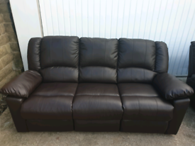 3 seater + 2 seater in dark brown real leather sofa manual rycliners