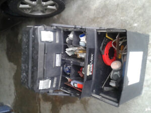 Tool box on wheels with handle