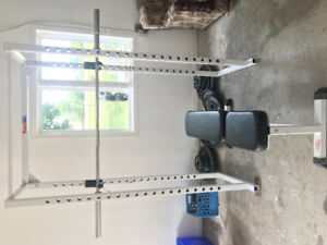 Squat rack with bench and weighs