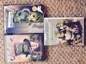 Shrek 2/Monsters Inc/Charlie and the Chocolate Factory DVDs
