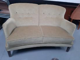 Vintage retro Danish antique velvet 60s curved sofa couch 2 seat