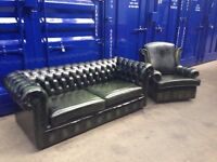 *immaculate* ORIGINAL chesterfield 2 piece suite suit vintage genuine leather green sofa wingback