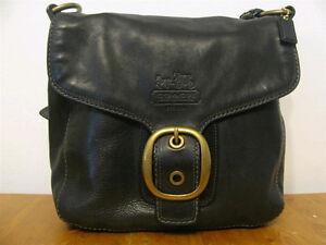 Authentic Coach Bleeker flap bag, black leather.