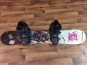 5150 snowboard 141cm with k2 binding, boots size 8