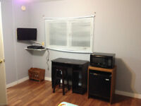 Furnished room with fridge and microwave close to everything