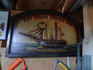 Old Ship Store Sign Est. Ships Stores 1851 Wooden Carved Boat .