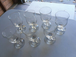 7 NICE WINE GLASSES WITH HANDLES $2 FOR THE WORKS