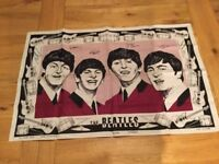 THE BEATLES ORIGINAL 1963 TEA TOWEL. EXTREMELY RARE ITEM. NEVER BEEN USED. 54 YEARS OLD.