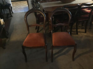Pair of Antique Grape Back Side Chairs