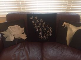 3 Canvas Style Pictures in Black and Silver.