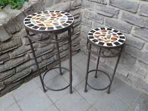 MATCHING SMALL METAL PLANT TABLES