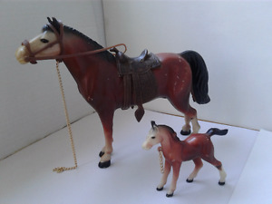 Vintage Hard Plastic Horses Made In Hong Kong