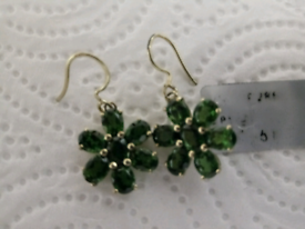 LADIES NEW, RUSSIAN GREEN CHROME DIOPSIDE FLOWER DROP EARRINGS