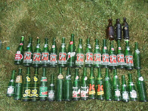 Lot of 35 Green and Brown Pop Bottles