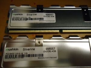 MUSHKIN Ram 4Gb (2x2Gb) DDR2-800 DIMMs. PC2-6400