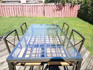 DINING SET: Tables+4 Chairs - Metal/glass - IKEA