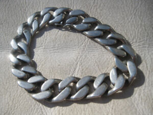Men's silver biker's wrist chain. Small wrist.