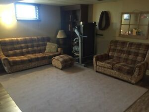 Couch, love seat and foot stool