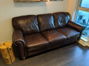 Comfy Leather Couch in Good Condition