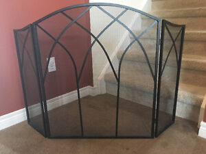 Black Fireplace Screen - Excellent Condition