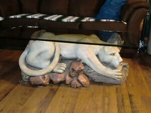 mountain lion coffee table and lamp Strathcona County Edmonton Area image 3