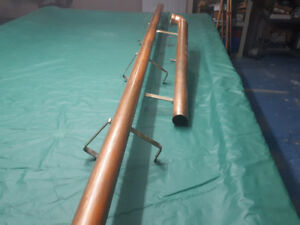 Copper bar rails with brass fittings