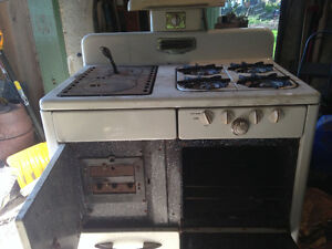 Antique wood burning & gas combination stove