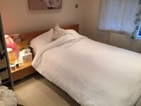 Ikea Malm Double Bed + 2 x Bedside Tables + Mattress