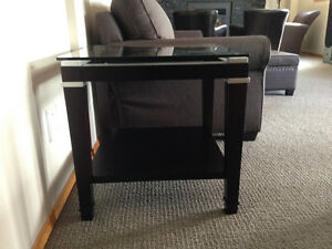 Bowring Solid Glass Wooden End Table