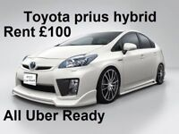 PCO Car Hire/Rent Toyota Prius Hybird Uber Ready, from £100/week