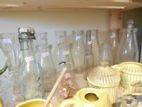 Lots of Vintage Milk and Cream Bottles at the Flea Market