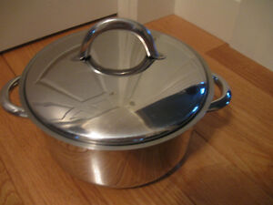 MEDIUM-SIZED STAINLESS STEEL DOUBLE-HANDLED STEWING POT & COVER