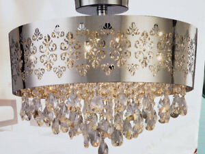 9 Light Crystal Semi Flush Mount Chandlier (Brand new)