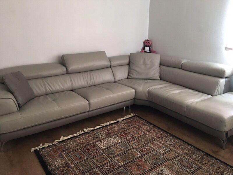 Iconica Dfs Designer Italian Leather Corner Sofa With