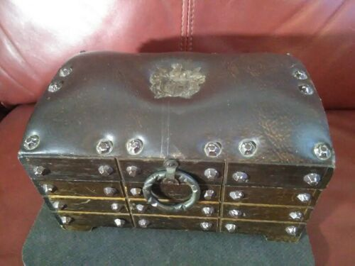 Vintage WOOD & LEATHER w/ Metal Rivets CHEST / JEWELRY BOX