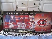 Horloge plaque en bois Hockey Canadiens de Montréal
