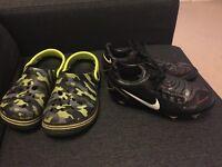 Nike football boots uk 2 total ninety 90 & camouflage crocs shoes uk 2