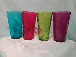 8 large colored drinking glasses.