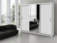 BRAND NEW 250cm WIDE MONACO 3 DOOR SLIDING WARDROBE WITH FULL MIRROR IN BLACK WHITE WALNUT WENGE