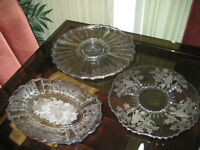 Antique Crystal Serving Collection with Sterling Silver Overlay