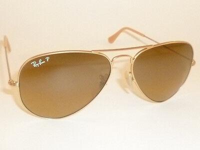 New RAY BAN Aviator Sunglasses Gold RB 3025 112/M2 Polarized Brown Gradient (Ray Ban 3025 Gold Brown Gradient 55mm)