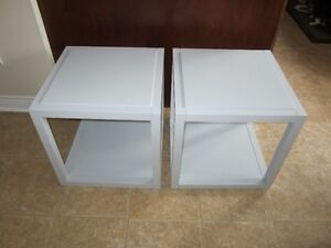 2 MELAMINE END TABLES